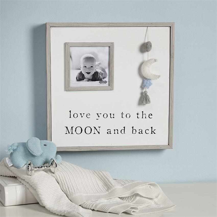 Pom Moon and Star Frame in Blue