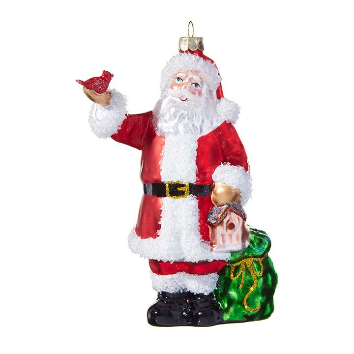 Santa with Cardinal Ornament