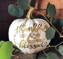 Thankful & Blessed White Pumpkin