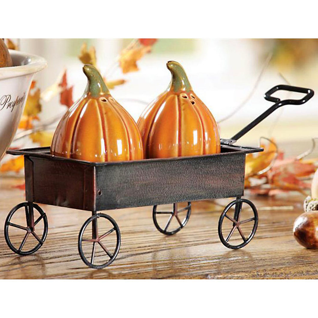 Pumpkin Salt & Pepper Set in Wagon