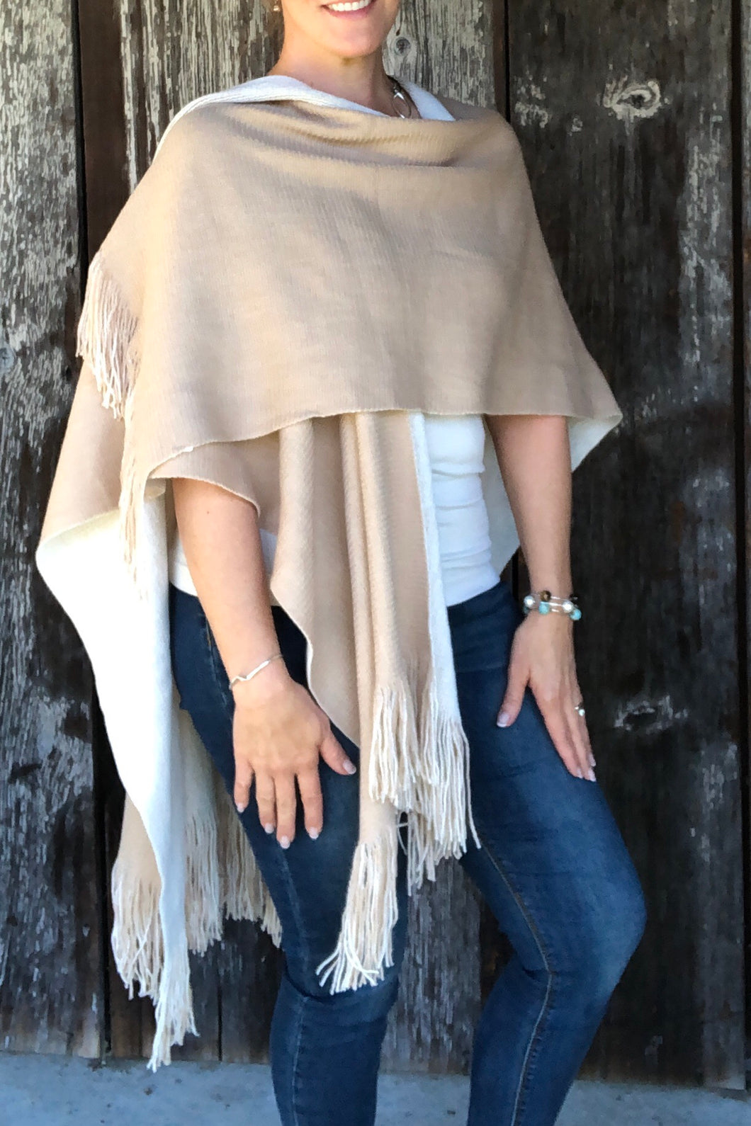 Reversable Cape in Tan/ Ivory