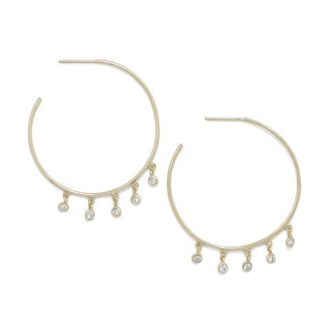 Haley hoops: 14 Karat Gold Plated Dangling CZ Hoops