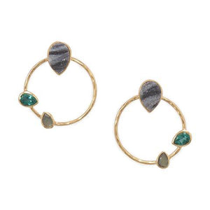 Lapér Hoop: 14 Karat Gold Plated Brass Multi Stone Fashion Earrings