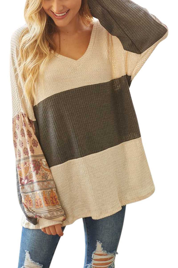 Boho Print Contrast Sleeve Color Block Top