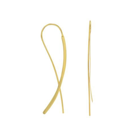 Lexi Loop Hoops: 14 Karat Gold Plated Flat Long Wire Earrings