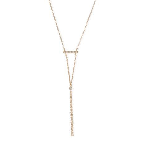 Emmy Drop: 14 Karat Gold Plated Bar Necklace with Y Drop