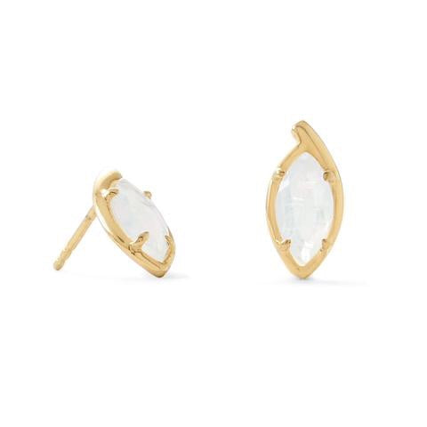 Brooklyn Marquise: 14 Karat Gold Plated Marquise Rainbow Moonstone Post Earrings