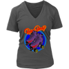 Women's V-Neck - Flaming Skates - Roller Derby themed apparel by RollerDerby.Love