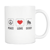 Mug - Peace Love Derby Derby themed apparel - Roller Derby Love