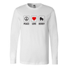 Canvas Long Sleeve - Peace Love Derby - Roller Derby themed apparel by RollerDerby.Love