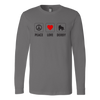 Canvas Long Sleeve - Peace Love Derby Derby themed apparel - Roller Derby Love