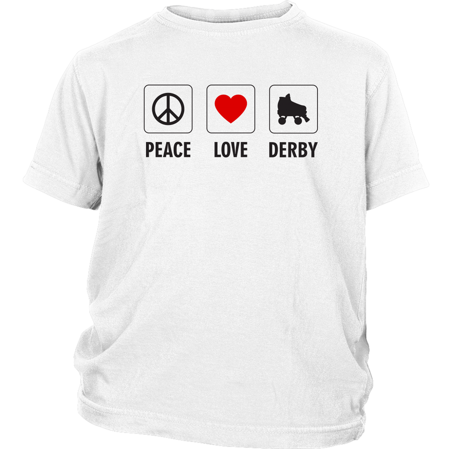 Youth Shirt - Peace Love Derby - Roller Derby themed apparel by RollerDerby.Love