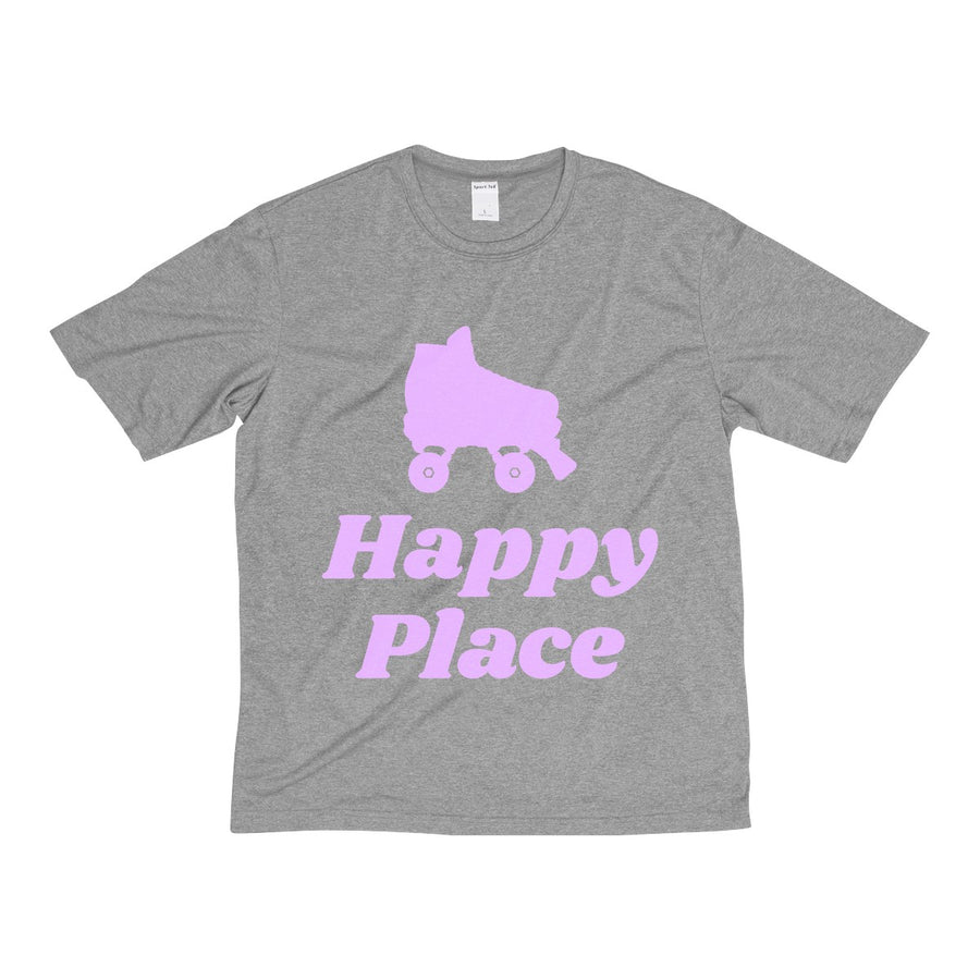 Men's Heather Dri-Fit Tee - Happy Place - Roller Derby themed apparel by RollerDerby.Love