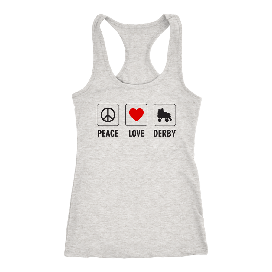 Racerback Tank - Peace Love Derby - Roller Derby themed apparel by RollerDerby.Love