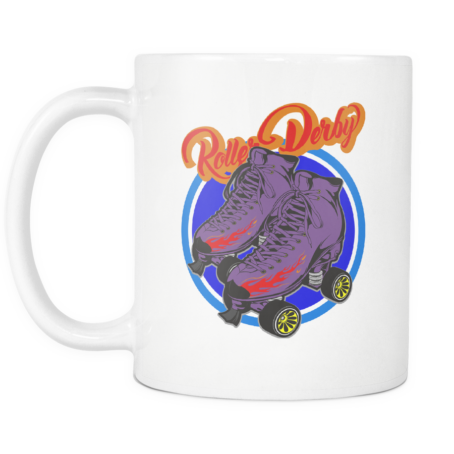 Mug - Flaming Skates Derby themed apparel - Roller Derby Love