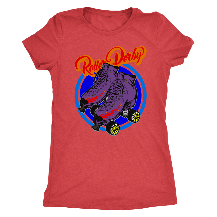 Women's Triblend - Flaming Skates - Roller Derby themed apparel by RollerDerby.Love