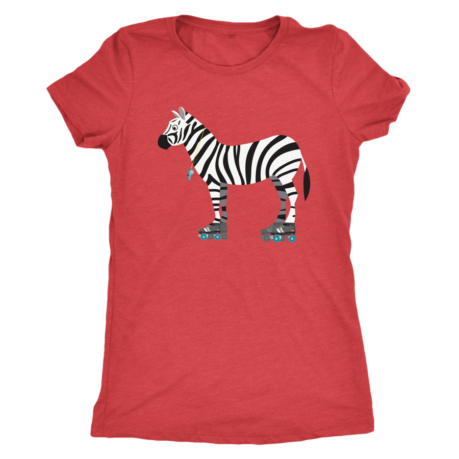 Womens Triblend - Zebra on Skates Derby themed apparel - Roller Derby Love