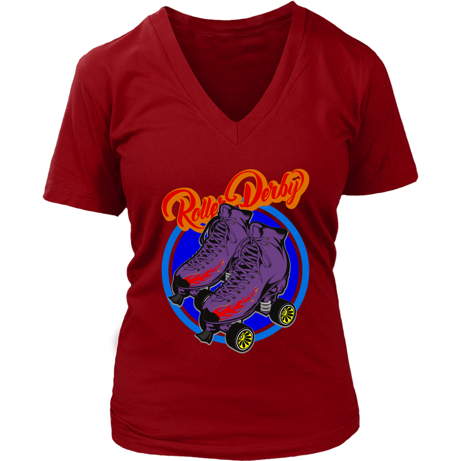 Women's V-Neck - Flaming Skates Derby themed apparel - Roller Derby Love