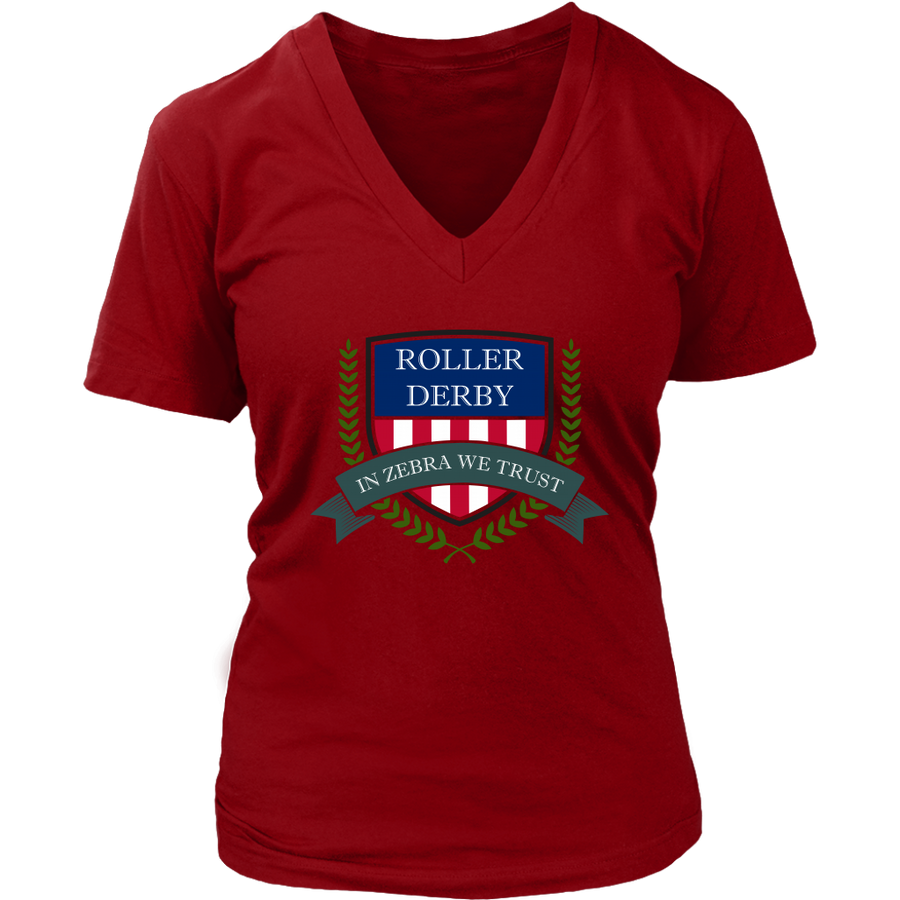 Women's V-Neck - In Zebra We Trust - Roller Derby themed apparel by RollerDerby.Love