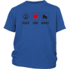 Youth Shirt - Peace Love Derby Derby themed apparel - Roller Derby Love