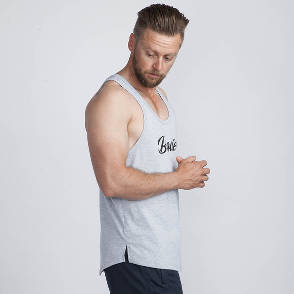 Classic Scoop Singlet in Grey Marle