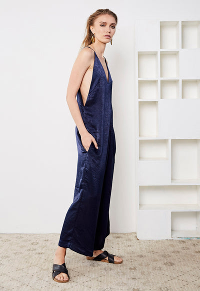 Washer Satin Culotte Jumpsuit