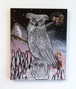 """Cosmic Owl"" 20""x 16"" x 1 1/2"" Mixed Media"