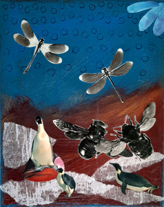 """Penguin Night Dream"" Original Collage"