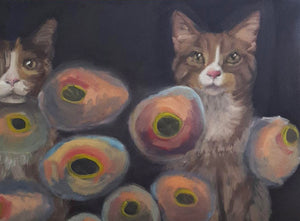 """Weirdo Cats"" Oil on Canvas 11"" x 14"" x 1 1/2"" 2018"