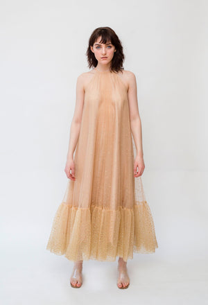 Flared Champagne Midi Dress
