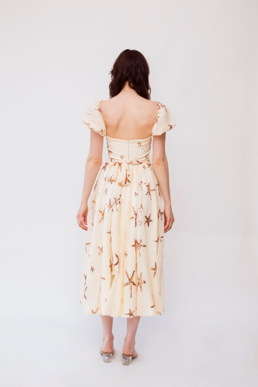 Puff - Shoulder Cream Midi Dress
