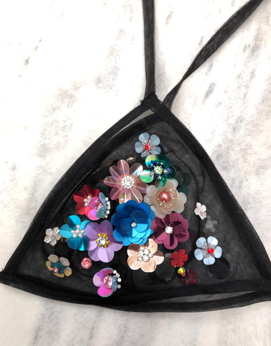Sequin Flowers Bra