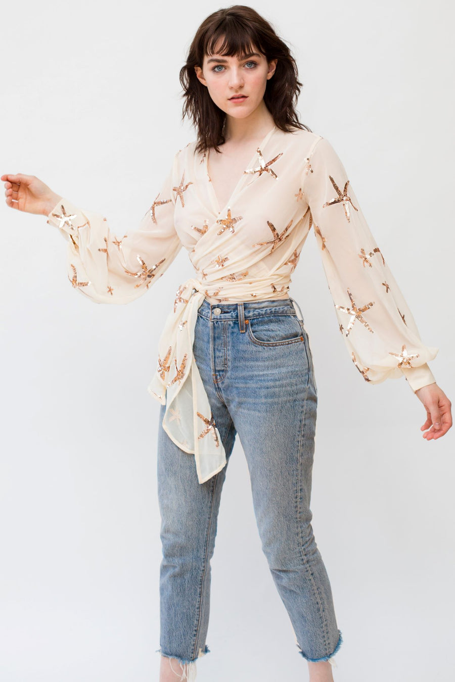 Cream Chiffon Wrap Top