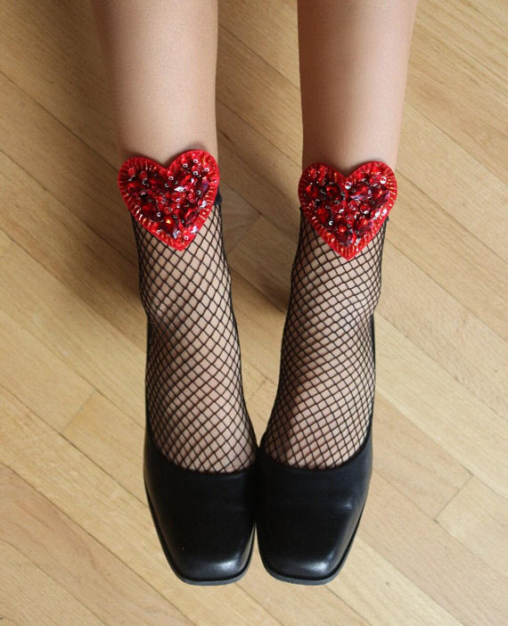 Heart Fishnet Socks