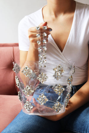 PVC Embellished Bucket Bag