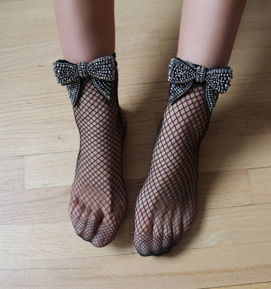 Bow Fishnet Socks