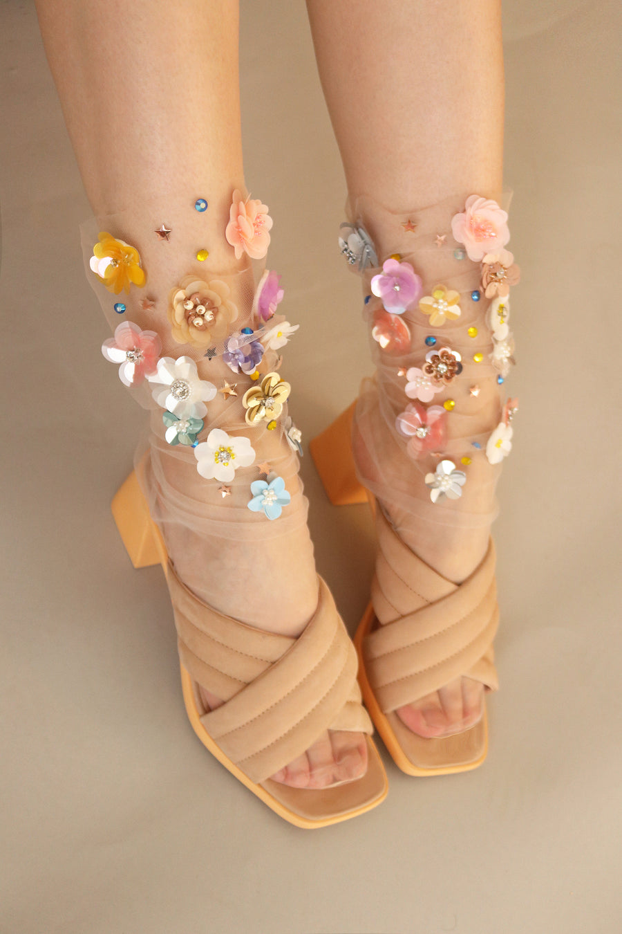 Amber Sequin Tulle Socks