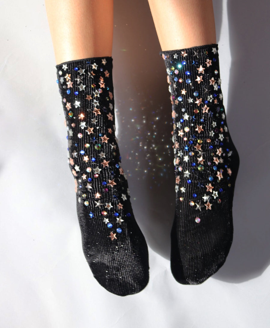 Shooting Star Velvet Socks