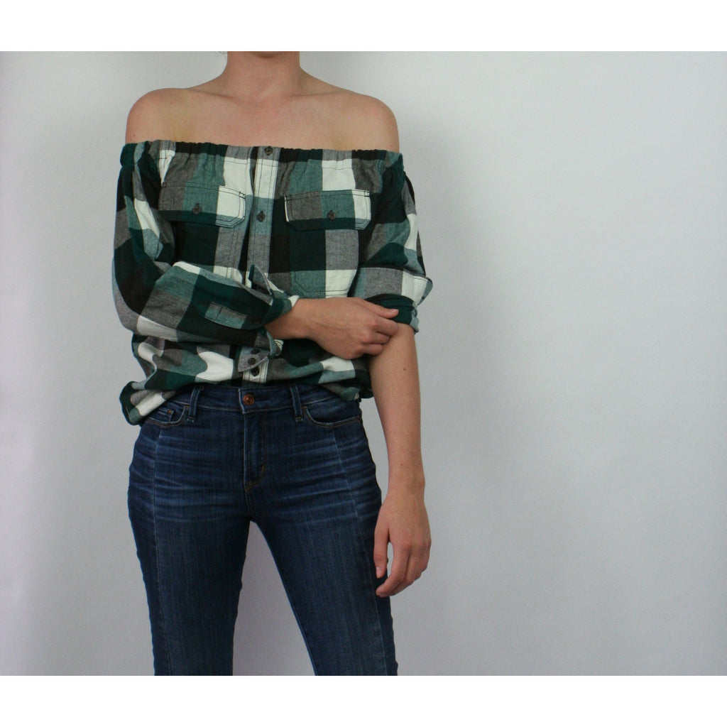 Risky Business, Flannel -  Green, Brown & White Plaid