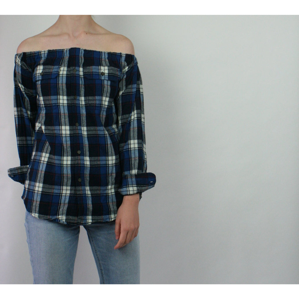 Risky Business, Flannel -  Blue & White Plaid
