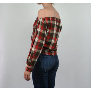 Risky Business, Flannel -  Orange & Brown Plaid