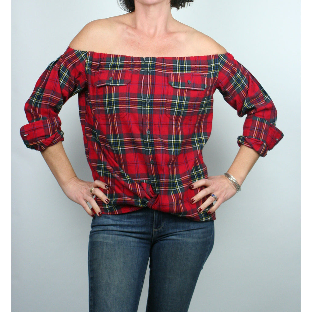 Risky Business, Flannel -  Red Tartan Plaid