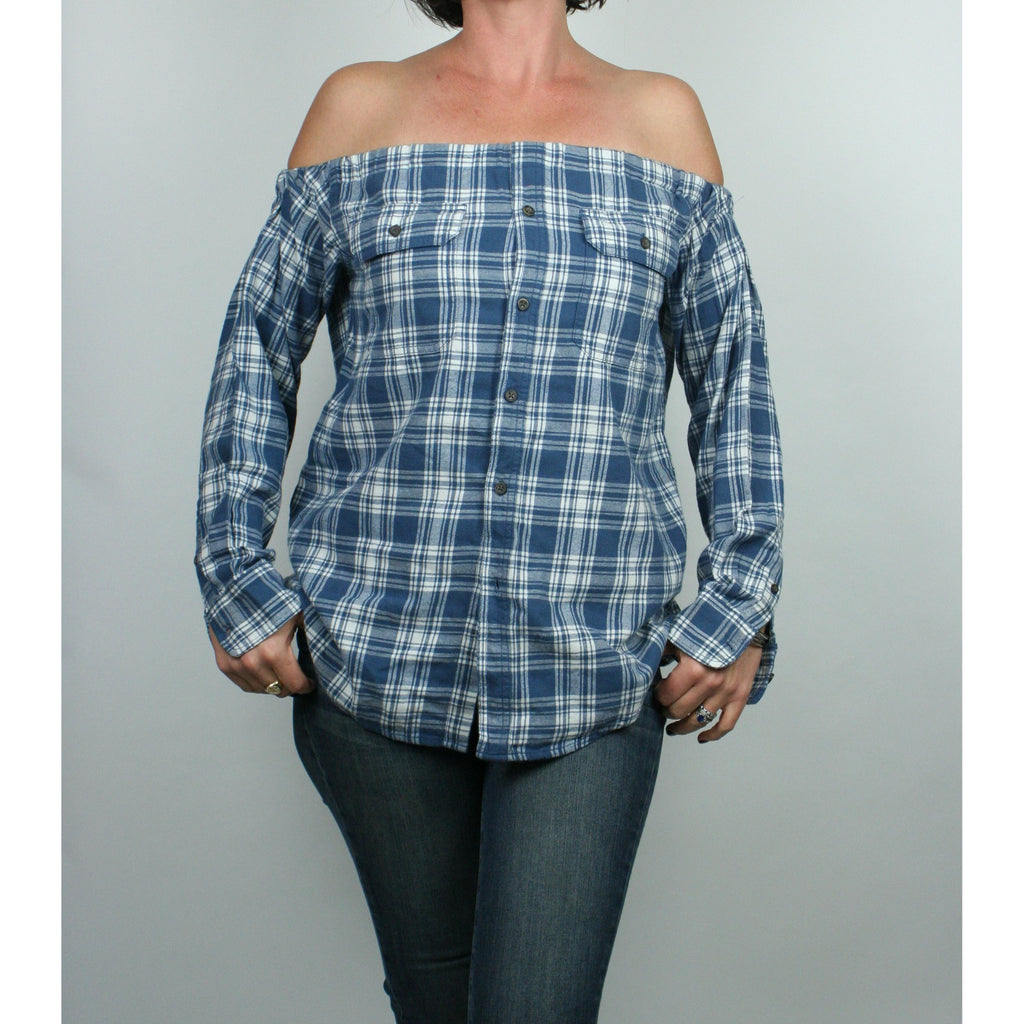 Risky Business, Flannel -  Lt Blue & White Plaid