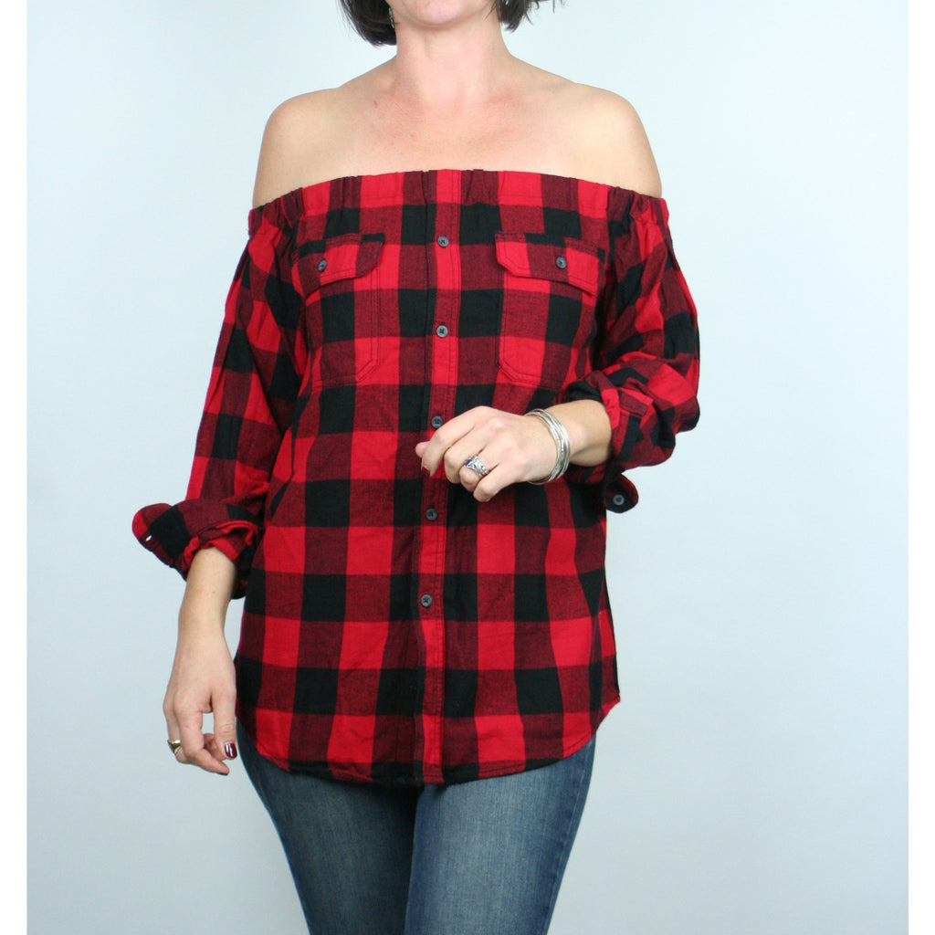 Risky Business, Flannel -  Black & Red Plaid