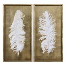 Load image into Gallery viewer, White Feathers Shadow Box, S/2