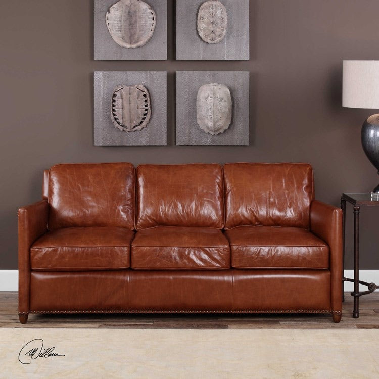 Uttermost Roosevelt leather sofa