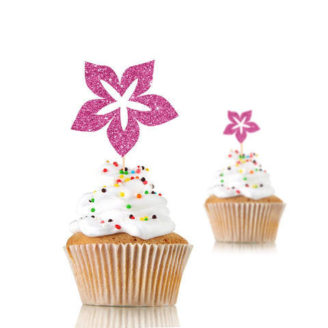 12 X Flower Cupcake Topper, Spring Themed Party Decoration, Floral Decor, Magnolia Cupcake Topper