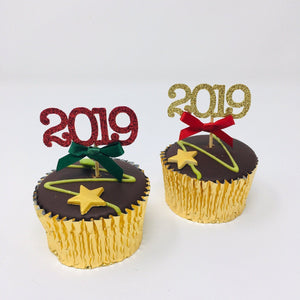 2019 Year Cupcake Topper with the bow. 12 pieces