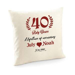 40 ruby years cushion cover, Personalised wedding anniversary gift