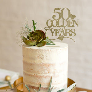 50 golden years cake topper, Wedding anniversary party decor, Gold 50th anniversary